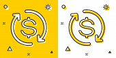 Black Return Of Investment Icon Isolated On Yellow And White Background. Money Convert Icon. Refund  poster