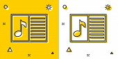 Black Music Book With Note Icon Isolated On Yellow And White Background. Music Sheet With Note Stave poster