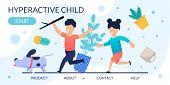 Hyperactive Children Problem Behavior Landing Page. Cartoon Kids Running After Dog. Houseplants In M poster