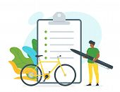 Bicycle Rent Contract Vector Illustration. African American Guy Holding Huge Pen Cartoon Character.  poster