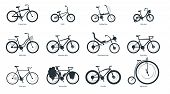 Bicycle Types Silhouette Illustration Set. Various Bikes With Names Monochrome Black Icons Pack. Old poster