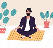 Bearded Man Sitting With His Legs Crossed On Floor And Meditating. Young Man In Yoga Posture Doing M poster