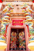 Traditional Kind Of House Gates In China And Twin Dragon In Chinese Temple