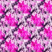 Seamless Tie-dye Pattern Of Purple  Color On White Silk. Hand Painting Fabrics - Nodular Batik. Shib poster