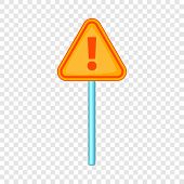 Hazard Warning Attention Sign With Exclamation Mark Icon. Cartoon Illustration Of Warning Attention  poster