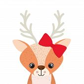 Cute And Adorable Deer With Frame Vector Illustration Design poster