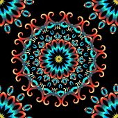 Embroidery Colorful Floral Seamless Mandala Pattern. Vector Grungy Background. Textured Floral Ethni poster