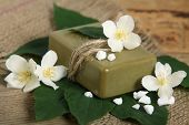 Bar Of Natural Handmade Soap On Leaves. Spa