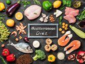 Mediterranean Diet Concept. Top View Of Food Ingredients And Chalkboard With Words Mediterranean Die poster