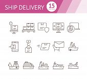 Ship Delivery Icons. Set Of Line Icons. Cargo Ship, Freight Ship, Delivery Mail. Shipping Concept. V poster