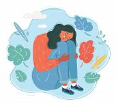 Cartoon Vector Illustration Of Woman In Sad And Depressed Woman Deep In Thought. poster
