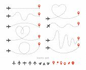 Set Icons Of Travel Way By Plane. Takeoff And Landing Of A Passenger Plane. Flight Route Infographic poster