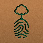 Papercut Human Finger Print With Tree. Green Fingerprint Cutout Concept In Recycled Paper For Nature poster