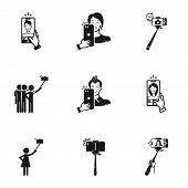 Selfie Stick Icon Set. Simple Set Of 9 Selfie Stick Vector Icons For Web Design Isolated On White Ba poster