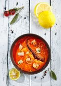 Restaurant Soup Food - Traditional Thai Tom Yam Kung Soup or Tom Yum Kong. Tom Yam is a Spicy Soup w poster