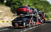 A Car Carrier Trailer, Known Variously As A Car-carrying Trailer, Car Hauler, Auto Transport Trailer poster