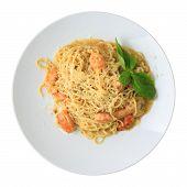 Tagliolini With Pesto And Shrimps Closeup - Top View