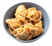 Dumplings On A Gray Plate Isolated On White Background. Dumplings In Tomato Sauce. Dumplings Top Sid poster