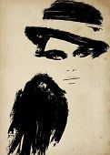 Fashion Illustration Black And White. Fashion Sketch. Abstract Painting Woman. Fashion Background. G poster