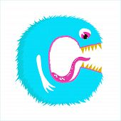Funny Furry Monster Letter C, English Alphabet Vector Element Isolated On A White Background poster