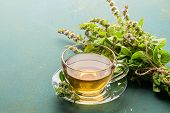 Cup Of Tea Drink With Fresh Leaves Of Peppermint Melissa Gray Background. Healing Herbal Drink. Hori poster