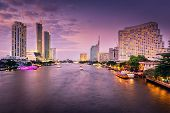 Business Downtown And Cityscape Riverside Of Bangkok City At Twilight Sunset Scene, Travel Destinati poster