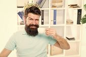 Head Office Concept. Man Bearded Manager Businessman Entrepreneur Wear Golden Crown On Head. Relaxed poster