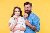 Sweet Dessert. Bearded Hipster Good Daddy For Adorable Daughter. Sweets And Treats Concept. Daughter poster
