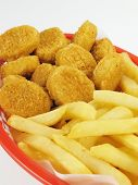 image of fried chicken  - Basket of chicken nuggets with french fries - JPG