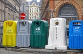 stock photo of segregation  - Five recycle bins for waste segregation in Budapest - JPG
