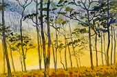 Paintings Watercolor Landscape Original Of Wildfire, Eco Mountain And Meadow Countryside. Hand Paint poster