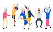 Dancing Old People. Happy Aged Women And Men On The Party. Laughing Grandfather With Recorder Player poster