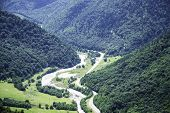 Mountain Landscape, River Valley, Mountains, Green Trees, Valley, River, Glaciers. Valley Of A Zelen poster