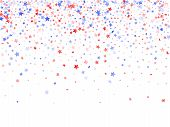 American Patriot Day Stars Background. Holiday Confetti In Usa Flag Colors For Patriot Day. Minimal  poster
