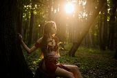 Wild Attractive Woman In Forest. Folklore Character. Female Spirit Mythology. Living Wild Life Untou poster