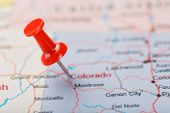 Red Clerical Needle On A Map Of Usa, Colorado And The Capital Denver. Closeup Map Colorado With Red  poster