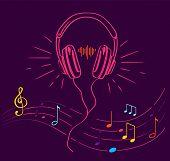 Headphones Performing Loud Sounds Vector Doodles In Flat Style. Headset Hand Drawn Musical Earphones poster