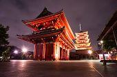Asakusa in Tokyo, Japan, in the dark