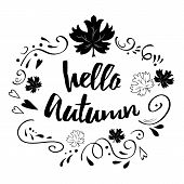 Typographic Banner With Phrase Hello Autumn In Black Abstract Ornament And Maple Leaves poster