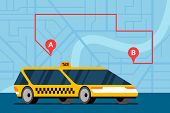 Modern Yellow Car On City Map With Route A To B And Gps Navigation Marker Pins Location Icons. Onlin poster
