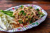 Spicy Minced Pork Salad Or Ground Pork Salad (laab) Is A Thai Food For Health Consists Of Pork Groun poster