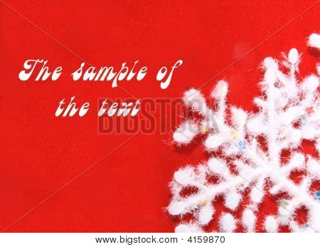 poster of Background Of Red Color With A White Fluffy Snowflake.