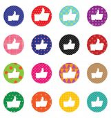 LIKE sign icon set. Simple circle shape & patterns internet button. Contemporary modern style.