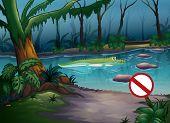 Abbildung eines Krokodils in einem Fluss in einem geheimnisvollen Dschungel