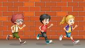 Illustration of two boys and a girl running in front of wall