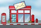 Illustration of a post office near a street