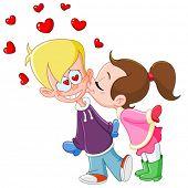 Young girl kissing boy on cheek