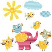 cute happy birds & elephant