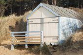 Single Beach Hut at Hunstanton, Norfolk, UK.