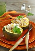 Baked Acorn Squash With Rice And Chicken Stuffing Ready To Serve.